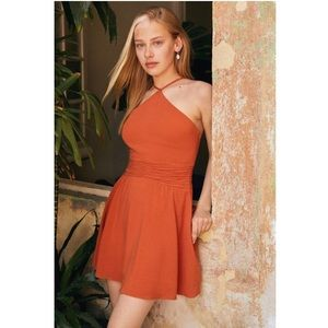 UO Marabella Y-Neck Mini Dress